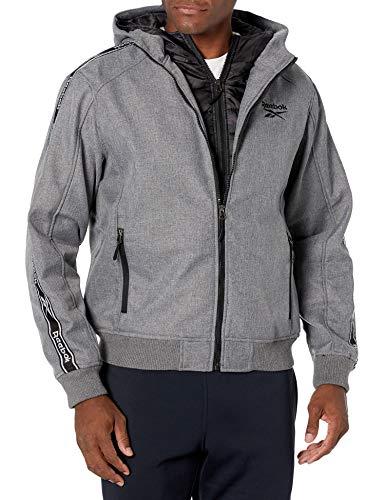 Reebok Mens 100% Poly Woven 600MM PU Coated WR Jacket Ropa de abrigo, Gris Hthr/camuflaje negro, L para Hombre