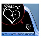 Custom Decal Car for Decaltor Blessed Cross and Heart Christian Decal for Car, Truck, Funny, Jeep, Window, Motorcycle, Helmet, Bumper, Decal for Laptop, Phone, Home Decoration / 4 in x 4 in / White