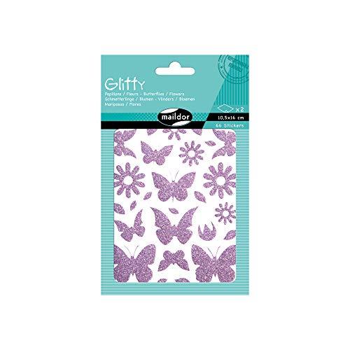 Maildor AE101O - Un sachet de gommettes Glitty 2 planches 10,5x16 cm, Papillons et fleurs en violet (66 stickers)