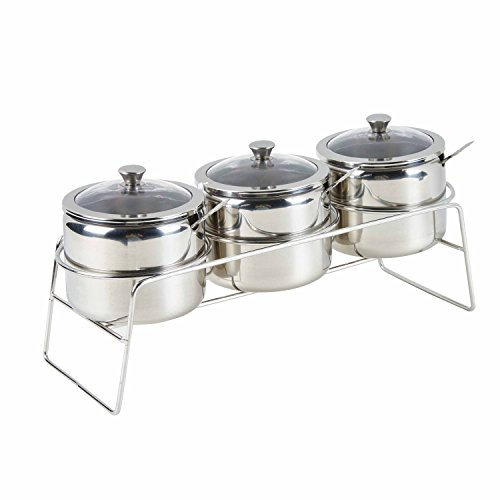 Multi-functional Stainless Steel 3 Piece Condiment Seasoning Containers Pots Set,Cream and Sugar Canister,Dip Bowls Set with Visible Glass Lid,Spoons and Rack/Shelf,Polished Finish