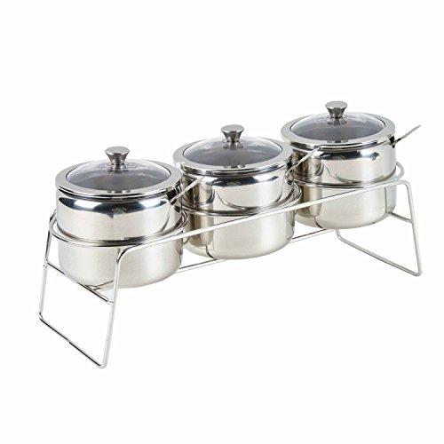 Multifunzionale condimento contenitori per condimenti in acciaio INOX 3pezzi Set pentole, panna e zucchero, set di ciotoline con visibile coperchio in vetro, cucchiai e Rack/scaffale, finitura lucida