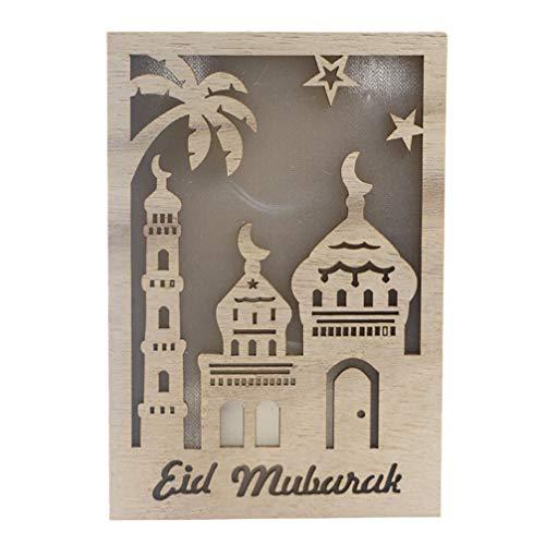 Exceart Hout Islam Led Lamp Opknoping Ramadan Eid Mubarak Opknoping Hanger Plaat Sfeer Wandlamp Desktop Decoraties Voor Festival Party (Geen Batterij)
