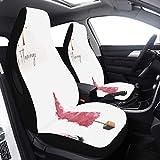 2 piezas Set Cover Kids Car Flamingo Pink Accesorios de moda Funda de asiento de automóvil para niños pequeños Compatible con bolsas de aire Ajuste universal para automóviles Camiones y SUV Fundas de