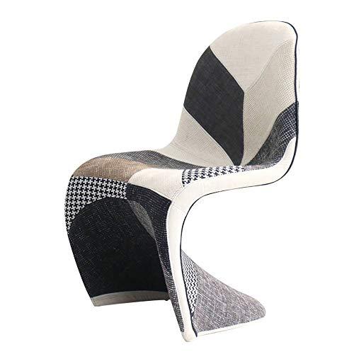 Silla de comedor de tela maciza, ligera, lujosa, respaldo sencillo, funda suave, taburete de plástico, mesa de negociación