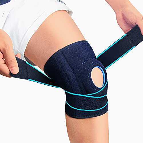 LAVAED Knee Brace with Side Stabilizers for Knee Arthritis Pain, Meniscus Tear, Adjustable Non Slip Open-Patella Compression Wrap Knee Support with Patella Gel Pads, Perfect for Woman and Man Sports Workout