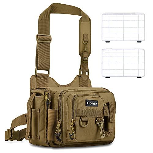 Gonex Angeltasche mit Boxen, 1000D Wasserabweisendes Polyestermaterial Angeltasche mit 2 Stück 3600 Angelkoffer für Angelzubehör