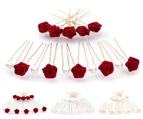 15 rosas y perlas horquillas - Joyas para el cabello - oro - Rojo Burdeos