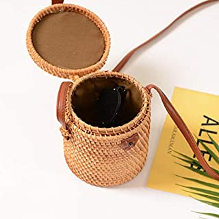 Handwoven Rattan Bag, Hamkaw Round Straw Purse Natural Bucket Bag Woven Circle Crossbody Handag For Wome With Shoulder Leather Strap