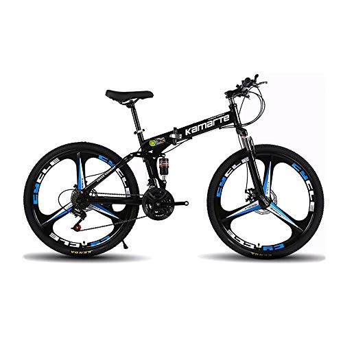 VIHII-Mountain Bike,Bicicleta de montaña Plegable 26 Pulgadas,Todoterreno Adultos, velocidades 21,24,27, neumáticos Resistentes y Freno de Doble Disco,3 cortadores de Rueda,Negra VIHII,24-Speed Shift