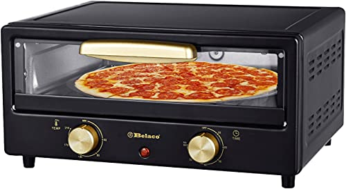 Belaco Multi-Purpose 1200W Mini Oven Pizza Oven All in One 12inch Pizza Maker Toaster Oven Tabletop Cooking Baking Grilling Heating Toasting Portable Oven 1200w incl. Baking Tray, Wire Rack and Handle