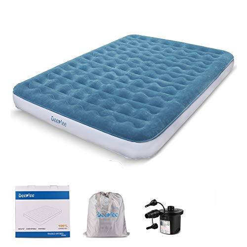 Deeplee Air Mattress, Comfortable Queen Size Durable Airbed Inflatable Beds for Outdoor activities and Indoor bed with an Rechargeable Air Pump, Supporting 650 LB Max Weight Capacity