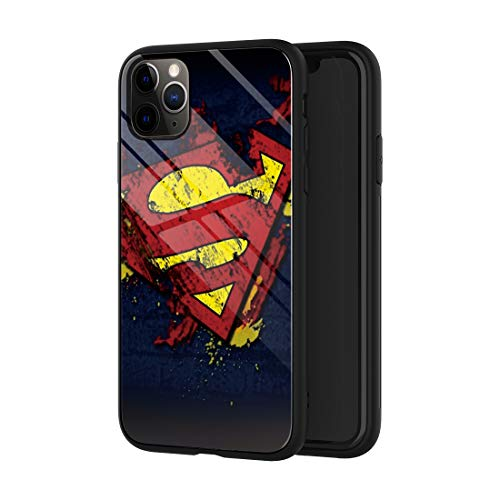 Phone Case Compatible with iPhone 11, Comics Pattern Design Tempered Glass Back Shockproof Cover with Soft TPU Anti Scratch Bumper Case 6.1 inch (Superman-Logo)