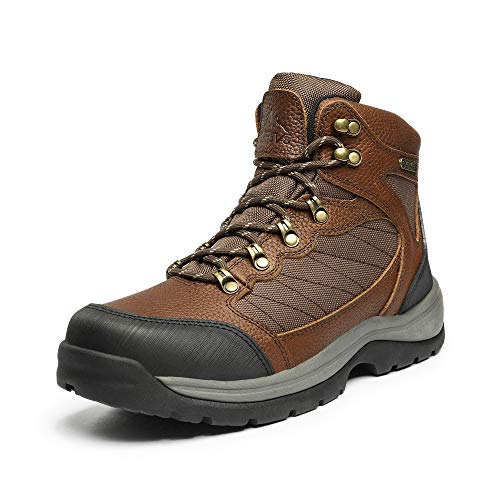 NORTIV 8 Botas de senderismo impermeables para hombre, para senderismo, montañismo, senderismo, Claro/Marrón/Litchi, 9 US