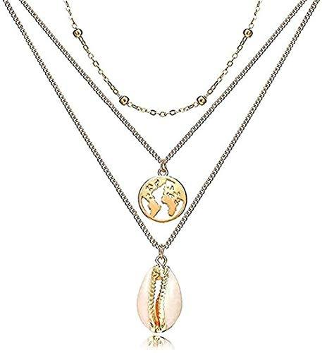 Yiffshunl Collar Collar Collares Multicapa para Mujeres niñas Collar de Mariposa de Perlas Gargantilla de Perlas de Oro Regalo de joyería Vintage