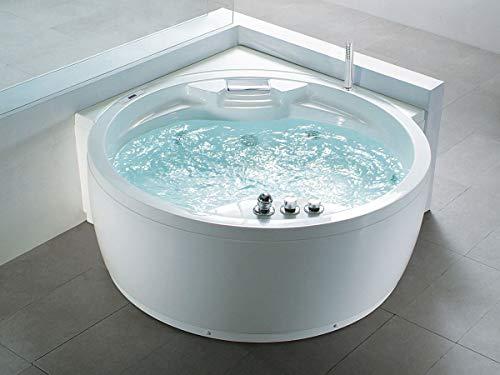 Whirlpool Badewanne Florenz mit 14 Massage Düsen + Heizung + Ozon Desinfektion + Beleuchtung / Licht + Wasserfall + Radio – Eckwanne Sprudelbad Jakuzzi indoor / innen günstig - 2
