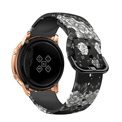 PAZHOU 20mm Reloj Correa para Samsung Galaxy Active 2 3 40mm 44mm 41mm 42mm Impresión Pulsera de Silicona Correa Amazfit GTS 2 Mini BIP (Band Color : Grey Flower, Size : 20mm amazfit bip)