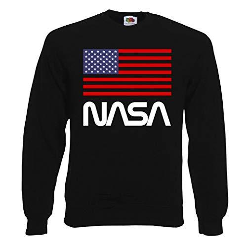 TRVPPY Herren Sweater Pullover Modell NASA USA, Schwarz, L