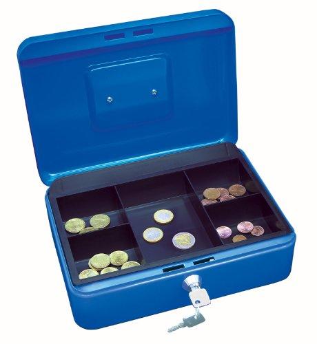 Wedo 145303X Geldkassette (aus pulverbeschichtetem Stahl, versenkbarer Griff, 5-Fächer-Münzeinsatz, Sicherheits-Zylinderschloss, 25 x 18 x 9 cm) blau