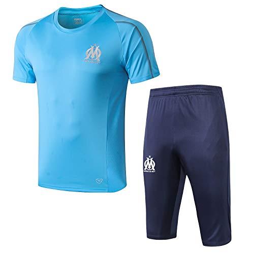 Qinmo 2021 NUEVOS Jerseys de fútbol, Marsella Soccer Club Men's Traje de Hombre Conjuntos Sportswear Set Short Manga Top y Shorts para el Verano (Size : L)
