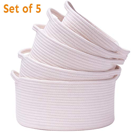 Storage Baskets Set of 5 Woven Basket Cotton Rope Bin Small White Basket Organizer for Baby Nursery Laundry Kid#039s Toy Neutral Color