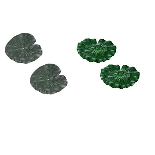 Sharplace 4x Plante Artificielle Aquarium Feuilles de Lotus en Plastique Non-toxique Décor pour Réservoir Poissons Piscine Aquariophilie 17cm + 29cm