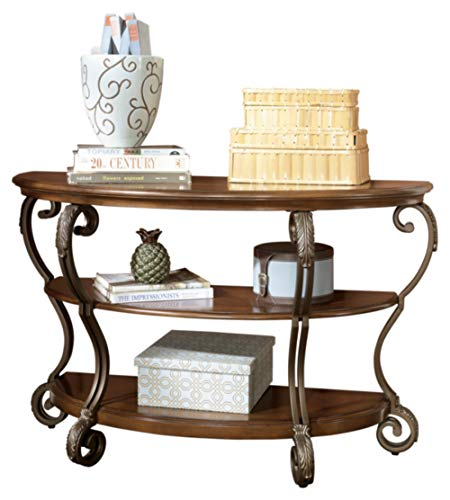 Signature Design by Ashley - Nestor Traditional Semi-Circle Sofa Table w/ Two Shelves, Medium Brown