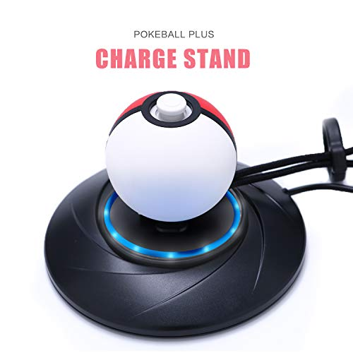 Charger Stand for Poke Ball Plus, Charger Dock Station for Nintendo Switch Pokemon Lets Go Pikachu Lets Go Eevee Poke Ball Plus Controller with 4.9ft USB Type C Charging Cable