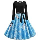 Weihnachtenkleid Für Damen, PPangUDing Kleid Damen Vintage 1950s Langarm Rundhals Schneemann Printed Patchwork Cocktailkleid Abendkleid Elegant Rückenfrei Knielang Minikleid (M,Blau)