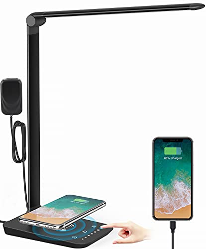 LED Desk Lamp with Wireless Charger, USB Charging Port, 12W Eye-Caring Desk Lamps for Home Office, Desk Light with 5 Lighting Modes & 7 Brightness Levels,Touch Table Lamp with 30/60 Mins Timer(Black)