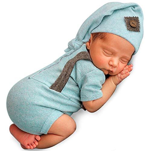 Foryora Newborn Photography Props Outfits – 2Pcs Handmade Set Baby Boy Girl (Turquoise)