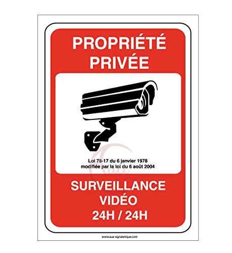 AUA SIGNALETIQUE - Panneau Propriété privée sous Surveillance vidéo 24H /24-150x210 mm, PVC 1.5mm