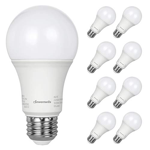 DEWENWILS 8-Pack A19 LED Light Bulbs 100 Watt Equivalent, 1500LM, 5000K Daylight, 15W, E26 Medium Screw Base, Non Dimmable, UL Listed