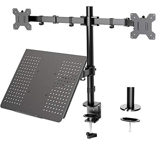 Dual Monitor with Laptop Stand - Height Adjustable Dual Monitor Mount with Laptop Tray Fit Two 13 to...