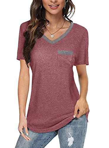 Jiraewh Camiseta de verano de manga corta para mujer, de un solo color, con corte en V, informal, holgada, túnica, de verano Vino tinto-3056 S