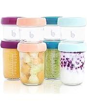 Babymoov Babybols lote de tarros de conservación cristal 4x100 ml & 4x220 ml - Tapas herméticas
