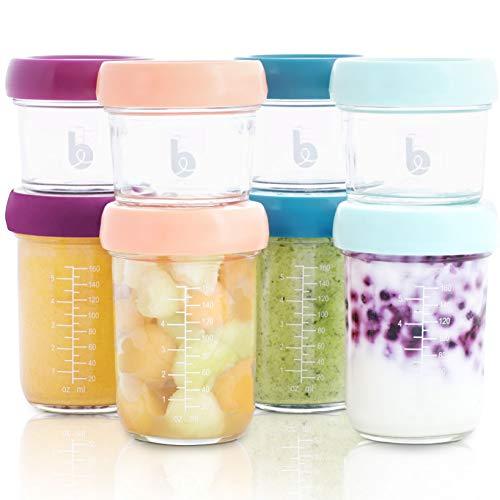 Babymoov Babybols 8 Pots de conservation bébé en verre gradués 4x220ml (8 oz) + 4x100ml (4oz), 100% Hermétiques, Résistent à la chaleur, Congélation, Stérilisation