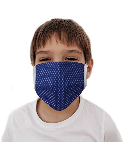 Swaddyl Mundmaske Kinder 3erPack I Behelfsmaske I Stoff Maske I Baumwolle (Blau)