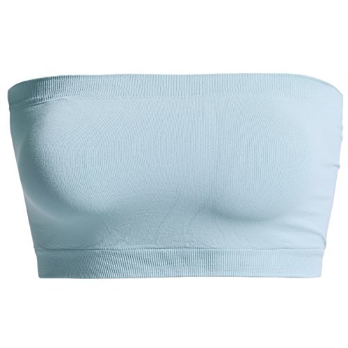 TheMogan Women's Seamless Bandeau Bra Top Stretch Tube Bralette Ash Blue ONE Size