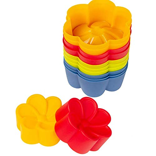 Webake Brioche Molds Silicone Fluted Flower Baking Cups Cupcake Liners Muffin Tin, Pack of 12