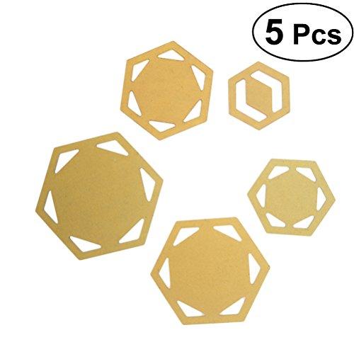 Healifty Quilten Vorlagen Schablonen Sechseck Patchwork Handmade DIY Nähen Werkzeug Set 5 Stück (Golden)