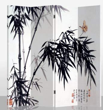 Fine Asianliving Paravent Raumteiler Trennwand Spanische Wand Raumtrenner Sichtschutz Japanisch Orientalisch Chinesisch L160xH180cm Bedruckte Canvas Leinwand Doppelseitig Asiatisch -203-104