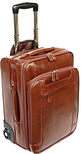 S Babila - Bagage à roulettes taille cabine - compartiment pour ordinateur portable - cuir - cognac