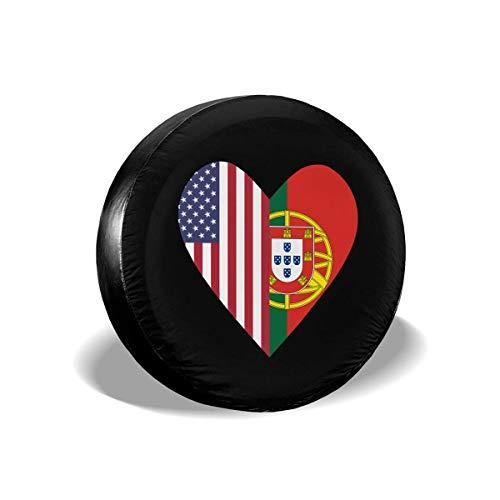 Enoqunt Halb Portugal vlag Halb USA vlag Love Heart reservebandenhoes geschikt voor Jeap Truck Trailer en vele voertuigen