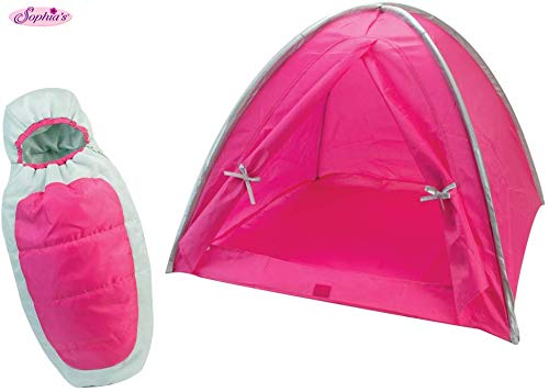 Sophia's Hot Pink Camp Set for 18 Inch Dolls, Includes Hot Pink Camping Tent and Silver & Pink Doll Sleeping Bag