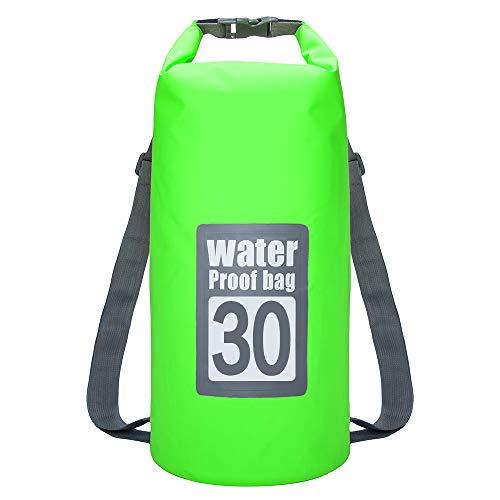 Bolsa de natación a Prueba de Agua 30L Bolso de Saco seco para Canoa Kayak Rafting Deporte al Aire Libre Bolsas de natación Kit de Viaje Mochila (Color : Light Green)