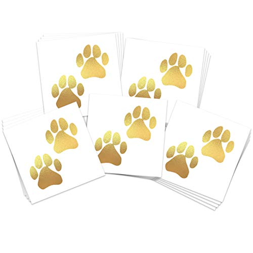 Gold Paw Prints Temporary Tattoos (20-Pack) | Skin Safe | MADE IN THE USA| Removable