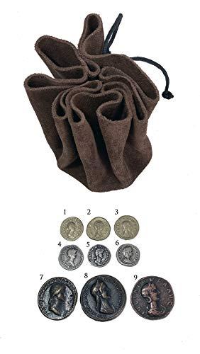 Bolso de piel con reproducciones de monedas de la Roma antigua.