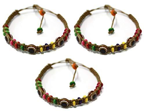 3 Bracelet ŒIL CHANCEUX charme de perle ethnique cordon BRUN pour succès mode