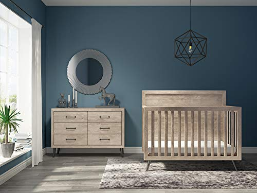 Evolur Stilnovo Mid Century 4-in-1 Convertible Crib, Windsor Oak Grey