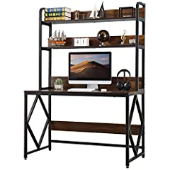 【SPACIOUS WORKSTATION】: Computer desk with spacious desktop,which is easy to fit your computers or your laptops.The 2 tier shelves with baffle design add a lot of extra storage space and prevent objects from falling.Enough space under the desk for an...